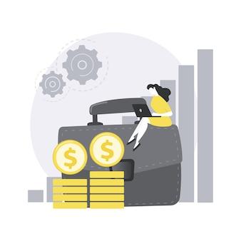 Illustration de concept abstrait de revenu de portefeuille.