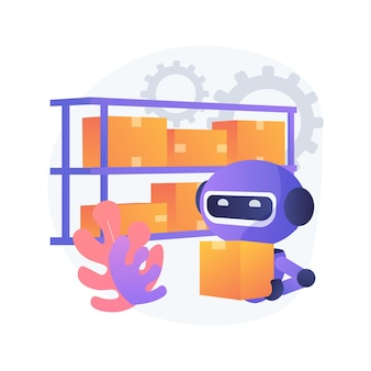 Illustration de concept abstrait de robotisation d'entrepôt