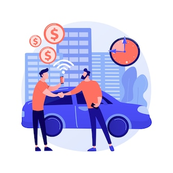 Illustration de concept abstrait de service d'autopartage