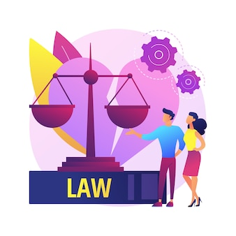 Illustration de concept abstrait service avocat divorce. avocat de la famille, procédure de divorce, consultation du service juridique, aide aux cabinets d'avocats, pension alimentaire pour enfants, conseils en matière d'actes successoraux.