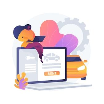 Illustration de concept abstrait de service de location de voiture