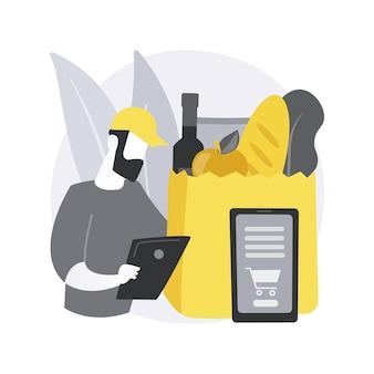 Illustration de concept abstrait de service de ramassage d'épicerie.