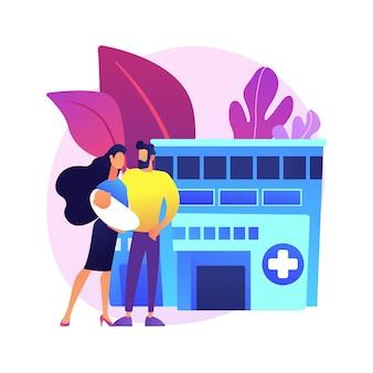 Illustration de concept abstrait de services de maternité. service de soins de maternité, soins périnatals, accompagnement qualifié grossesse et accouchement, accouchement et période post-partum.