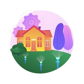Illustration de concept abstrait de système d'arrosage de pelouse. système d'arrosage de pelouse, irrigation, tuyau d'arrosage, arrosage automatique