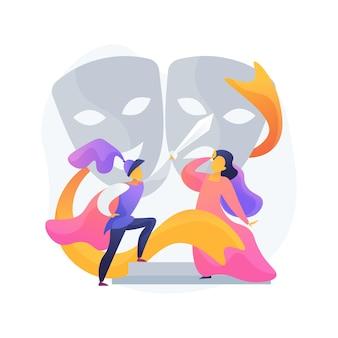 Illustration de concept abstrait de théâtre scolaire. cours pour jeunes acteurs, théâtre à l'école, activité parascolaire, spectacle pour enfants, académie de théâtre, cours de théâtre pour enfants