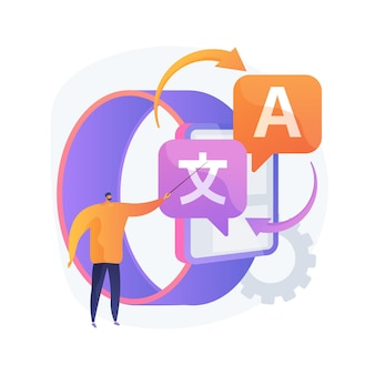 Illustration de concept abstrait de traducteur numérique