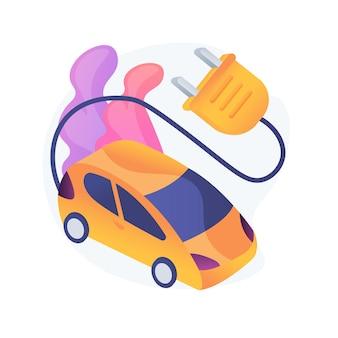 Illustration de concept abstrait d'utilisation de véhicule électrique. véhicule zéro émission, service électromobile urbain, voiture électrique moderne, usage industriel, transport écologique