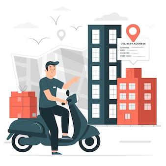 Illustration de concept d'adresse de livraison