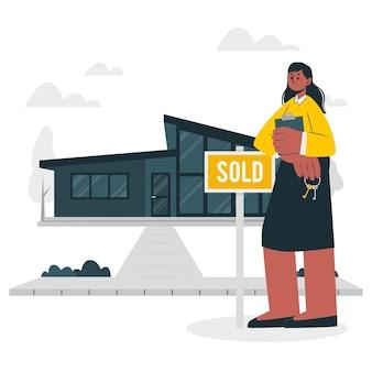 Illustration de concept d'agent immobilier