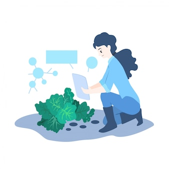Illustration de concept d'agriculteur intelligent