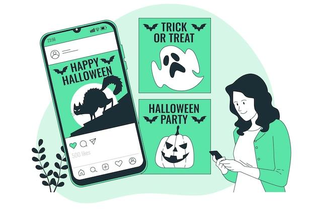 Illustration de concept d'alimentation instagram halloween