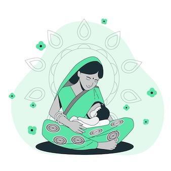 Illustration de concept d'allaitement maternel