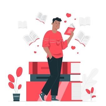 Illustration de concept d'amant de livre