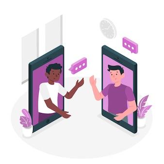 Illustration de concept d'amis en ligne