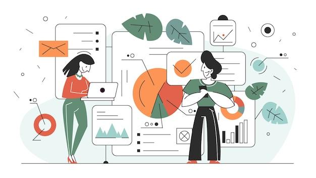 Illustration de concept d'analyse et d'analyse de données commerciales