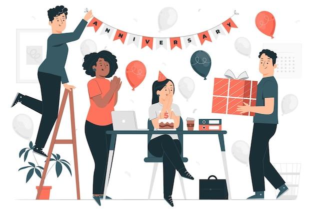 Illustration de concept d'anniversaire de travail
