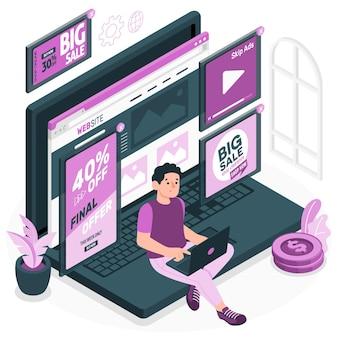 Illustration de concept d'annonces en ligne