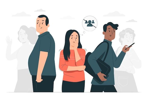Illustration de concept d'anxiété sociale