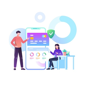 Illustration de concept d & # 39; application bancaire mobile