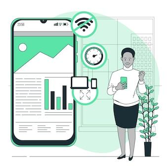 Illustration de concept d'application progressive