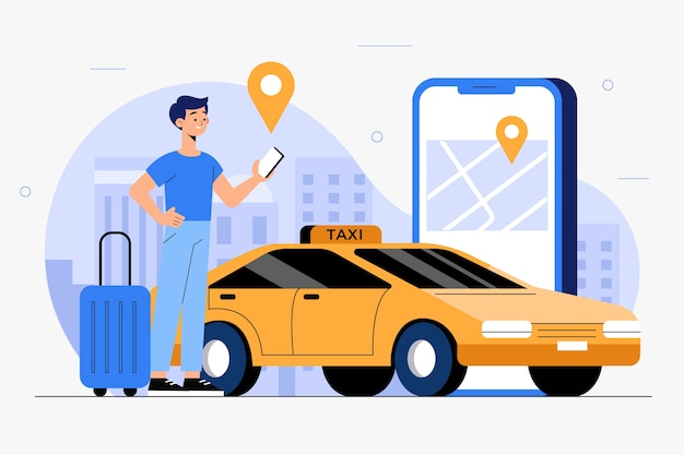 Illustration de concept d'application taxi