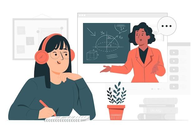 Illustration de concept d'apprentissage en ligne