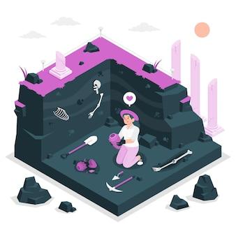 Illustration de concept d'archéologue