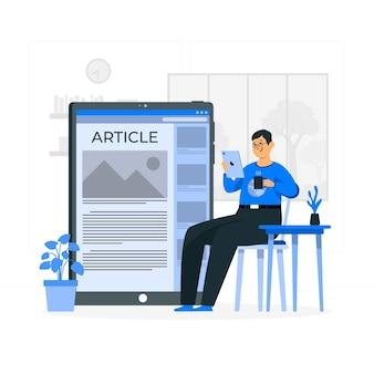 Illustration de concept d'article en ligne