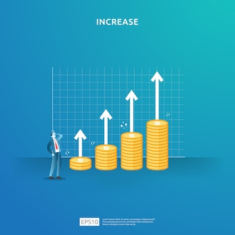 Illustration de concept d'augmentation de taux de salaire de revenu avec le caractère et la flèche de personnes. financez la performance du retour sur investissement roi. croissance des bénéfices de l'entreprise, vente augmenter les revenus de marge avec le symbole du dollar