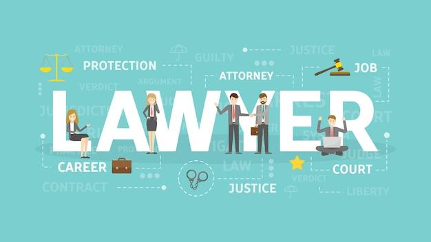 Illustration de concept d'avocat.