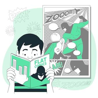 Illustration de concept de bande dessinée de lecture