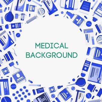 Illustration de concept de bannière médicale avec médicaments capsules pilules bouteilles vitamines comprimés médicament