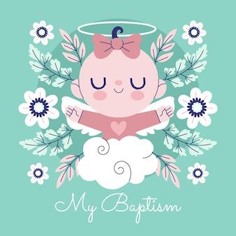 Illustration de concept de baptême plat