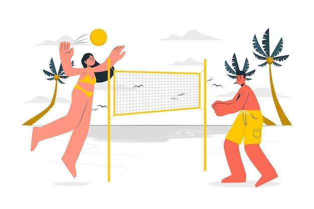 Illustration de concept de beach-volley