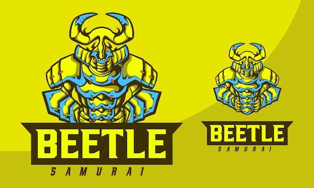 Illustration concept beetle samouraï avec style cartoon