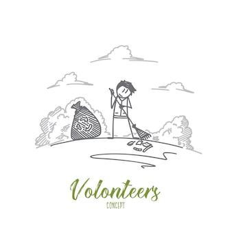 Illustration de concept de bénévoles
