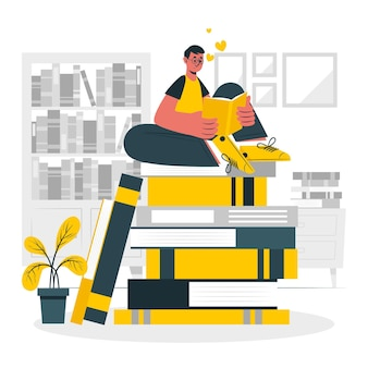 Illustration de concept bibliophile
