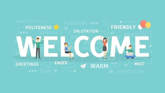Illustration de concept de bienvenue. idée de salutations et d'invitation.