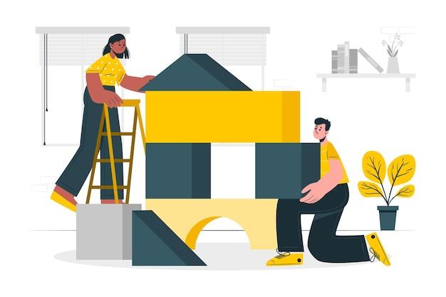 Illustration de concept de blocs de construction