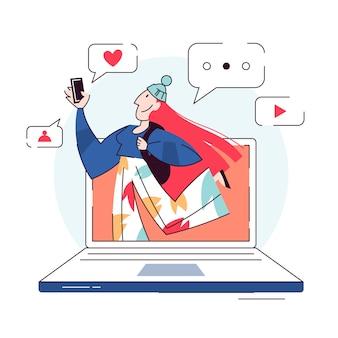 Illustration de concept de blogger. partager du contenu sur internet