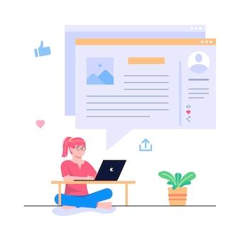 Illustration de concept de blogging