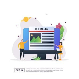 Illustration concept de blogs avec un porte-crayon sur le côté de l'ordinateur.