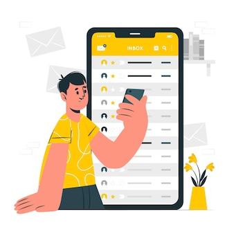 Illustration de concept de boîte de réception mobile