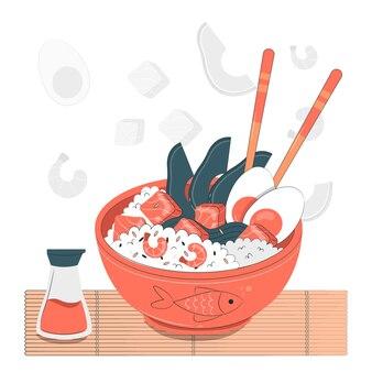 Illustration de concept de bol poke