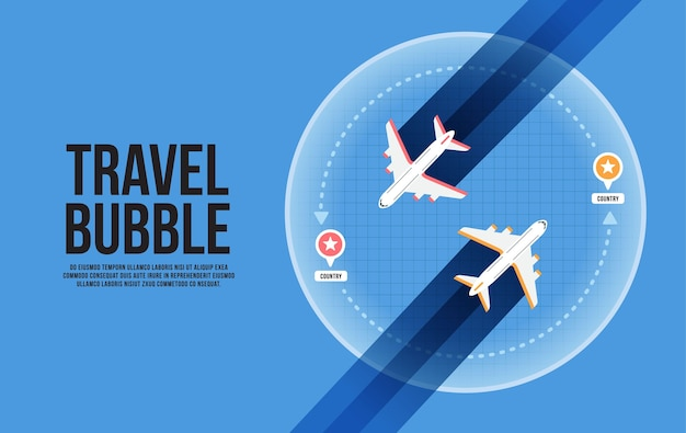Illustration de concept de bulle de voyage