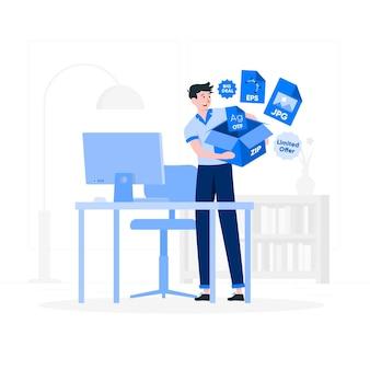 Illustration de concept de bundle de fichiers