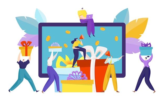 Illustration de concept de cadeau de référence internet