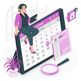 Illustration de concept de calendrier en ligne