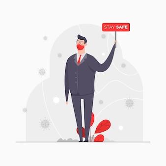 Illustration de concept de caractère homme d'affaires tenant le conseil d'administration rester sauver l'isolement de coronavirus pandémique