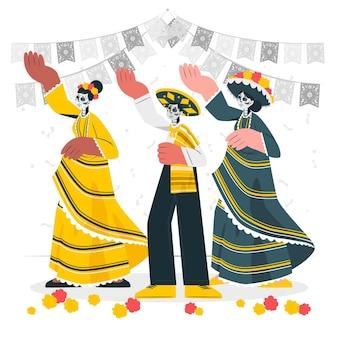 Illustration de concept de célébration de dia de muertos